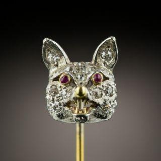 Edwardian Diamond Fox Head Stick Pin - 3
