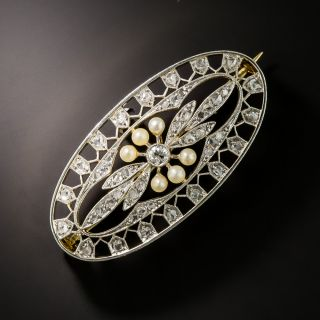 Edwardian Diamond & Natural Pearl Brooch - 2