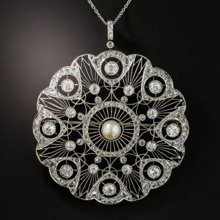 Edwardian Diamond Natural Pearl Circle Pendent Brooch - 2