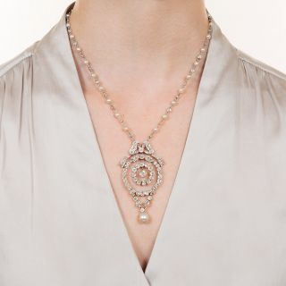 Edwardian Diamond & Natural Pearl Necklace