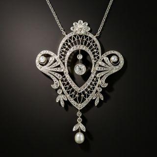 Edwardian Diamond Pearl Pendant Necklace - 2