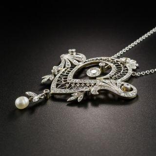 Edwardian Diamond Pearl Pendant Necklace