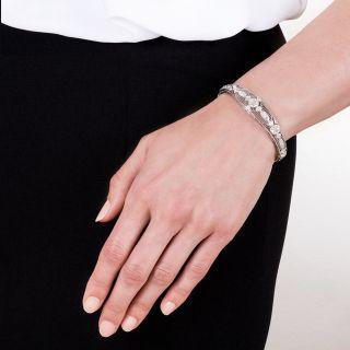 Edwardian Diamond Platinum Hinged Bangle Bracelet