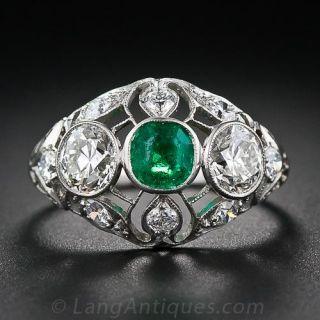 Edwardian Emerald and Diamond Openwork Ring - 1