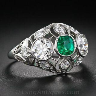 Edwardian Emerald Platinum Diamond Ring