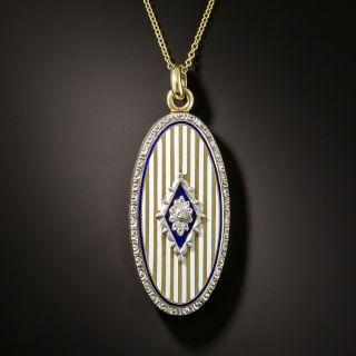 Edwardian Enamel Locket with Diamonds - 2