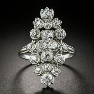 Edwardian Floral Motif Diamond Dinner Ring - 2