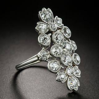 Edwardian Floral Motif Diamond Dinner Ring