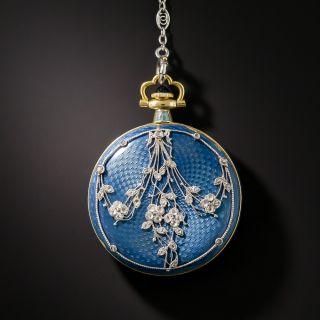 Edwardian Guilloche Enamel and Diamond Pendant Watch Necklace - 2
