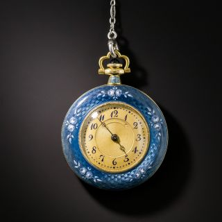 Edwardian Guilloche Enamel and Diamond Pendant Watch Necklace