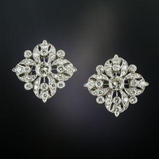 Edwardian Inspired Diamond Cluster Earrings - 2