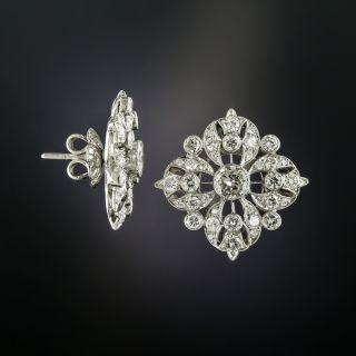 Edwardian Inspired Diamond Cluster Earrings
