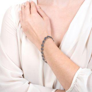 Edwardian Montana Sapphire Platinum Bracelet