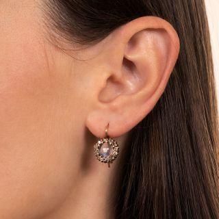 Edwardian Moonstone and Rose-Cut Diamond Halo Earrings
