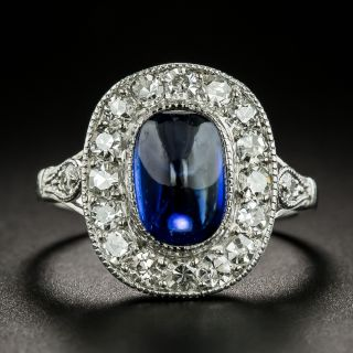 Edwardian Natural No-Heat Cabochon Sapphire and Diamond Halo Ring - 3