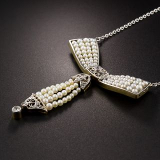 Edwardian Natural Pearl and Diamond Bow Necklace