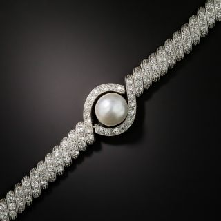 Edwardian Natural Pearl and Diamond Bracelet - 1