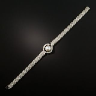 Edwardian Natural Pearl and Diamond Bracelet
