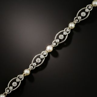 Edwardian Natural Pearl and Diamond Bracelet - 3