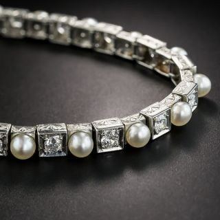 Edwardian Natural Pearl and Diamond Line Bracelet - 1