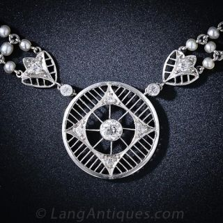 Edwardian Natural Pearl and Diamond Necklace - 1