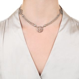 Edwardian Natural Pearl and Diamond Necklace