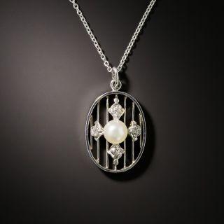 Edwardian Natural Pearl and Diamond Pendant - 3