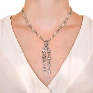 Edwardian Natural Pearl Diamond Platinum Sautoir Necklace