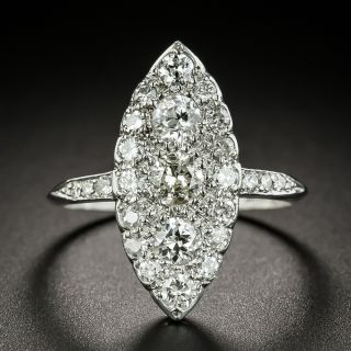Edwardian Navette Shaped Diamond Dinner Ring  - 2