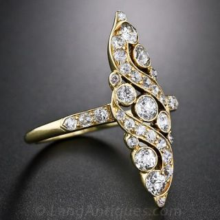 Edwardian Navette Shaped Diamond Dinner Ring