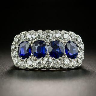 Edwardian No-Heat Four-Stone Sapphire and Diamond Ring - 2