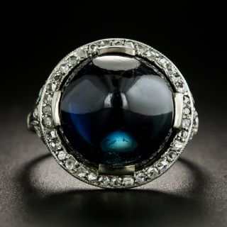 Edwardian No-Heat Sugarloaf Sapphire and Diamond Ring