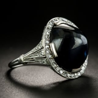Edwardian No Heat Sugarloaf Sapphire and Diamond Ring - 3
