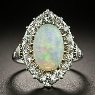Edwardian Opal and Diamond Cluster Ring - 2