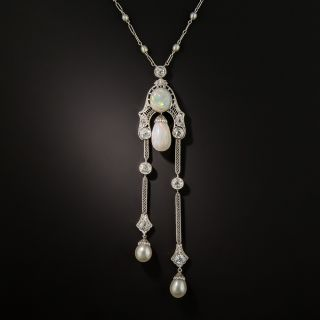 Edwardian Opal, Pearl and Diamond Negligee Necklace - 1
