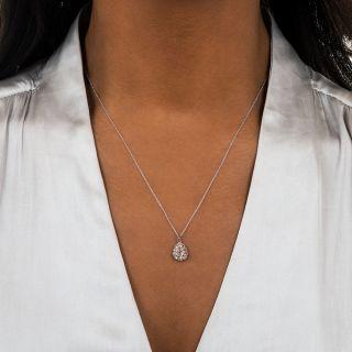 Edwardian Antique Pear-Cut Diamond Pendant