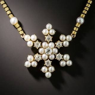 Edwardian Pearl and Diamond Snowflake Necklace - 1