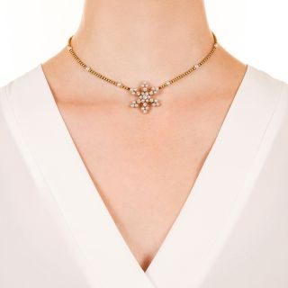 Edwardian Pearl and Diamond Snowflake Necklace