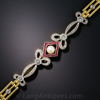Edwardian Pearl, Ruby and Diamond (and Colorless Spinel) Bracelet - 1