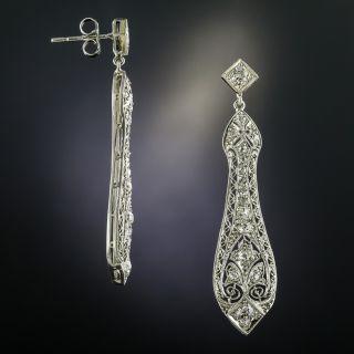 Edwardian Pierced Diamond Dangle Earrings