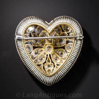Edwardian Platinum and  Diamond Heart Brooch