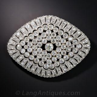 Large Scale Platinum Diamond Edwardian Brooch - 1