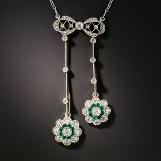 Edwardian Platinum Diamond Emerald Negligee Necklace - 2