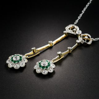 Edwardian Platinum Diamond Emerald Negligee Necklace