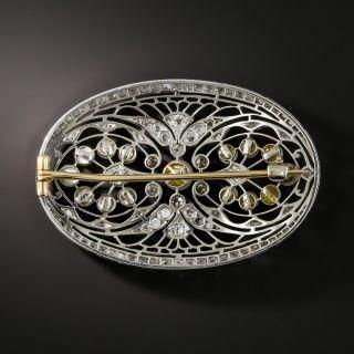 Edwardian Platinum Diamond Pearl Brooch