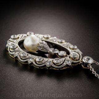 Edwardian Platinum Pearl and Diamond Pendant
