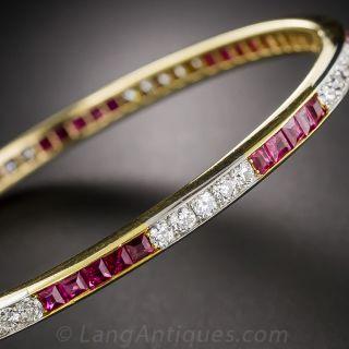 Edwardian Ruby and Diamond Bangle Bracelet