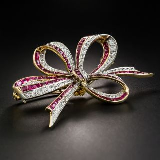 Edwardian Ruby and Diamond Bow Brooch - 3