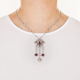 Edwardian Ruby and Diamond Drop Necklace