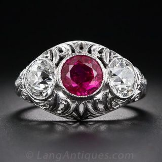 Edwardian Ruby and Diamond Ring - 1